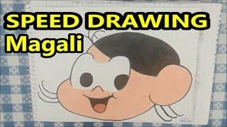Desenhando o rosto da Magali