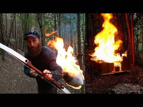 CRAZY Fire ARROW vs Box Fort! | Viking Flaming Arrow out of BOW!