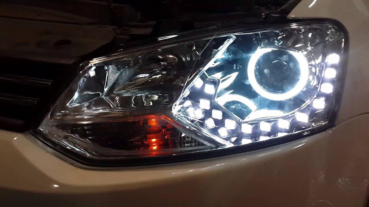 Orioncars: тюнингованные фары на Поло Седан 2013 - YouTube