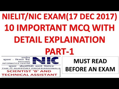 10 Important MCQ Part-1 For NIELIT/NIC Exam(17 Dec 2017) with Detail Explanation