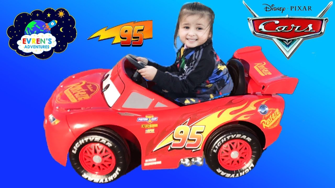 New Disney Cars Lightning McQueen Battery Powered Ride on Car Kids Unboxing u0026 Test Drive with Evren  sc 1 st  YouTube & New Disney Cars Lightning McQueen Battery Powered Ride on Car Kids ...