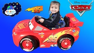 New Disney Cars Lightning McQueen Battery Powered Ride on Car Kids Unboxing & Test Drive with Evren