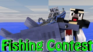 Minecraft | FISHING CONTEST CHALLENGE - Fishing Mod! (JAWS, SHARKS, BOAT MOD)
