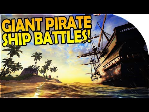 GIANT PIRATE SHIP BATTLES, FORT ATTACK, TREASURE - Pirate Ship Simulator - Blackwake Gameplay Part 1