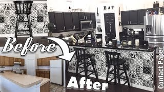 DIY Contact Paper Kitchen Makeover | Rental friendly makeover hack