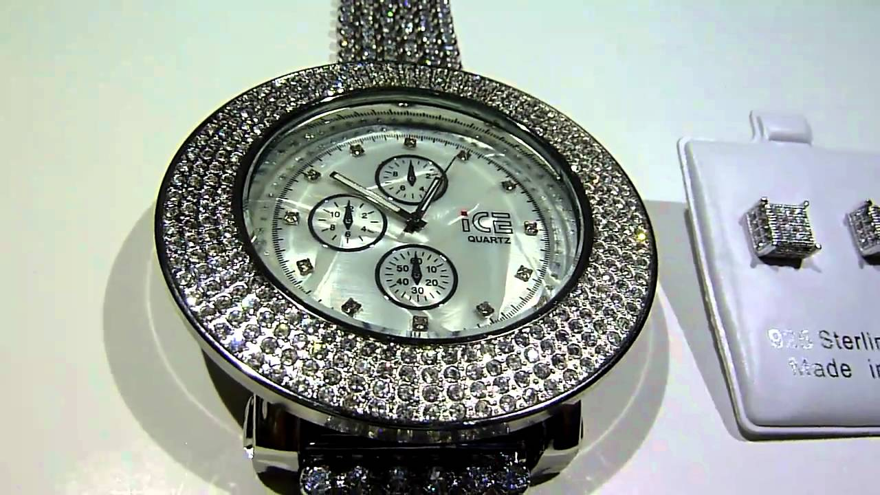 Breitling For Bentley >> (SOLD)$149 ICED-OUT Lab Made Breitling-style Diamond Watch with removable Bezel FREE 360 ...