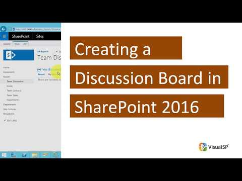 Creating a Discussion Board in SharePoint 2016 - YouTube