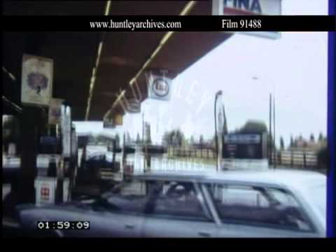 Oil tanker and British petrol station, 1970's.  Archive film 91488