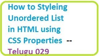 how to styling unordered list in html using css properties telugu 29