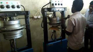 Areca leaf plate making machine of Deepam Ecogreen a Indian Govt supported firm to develop rural.