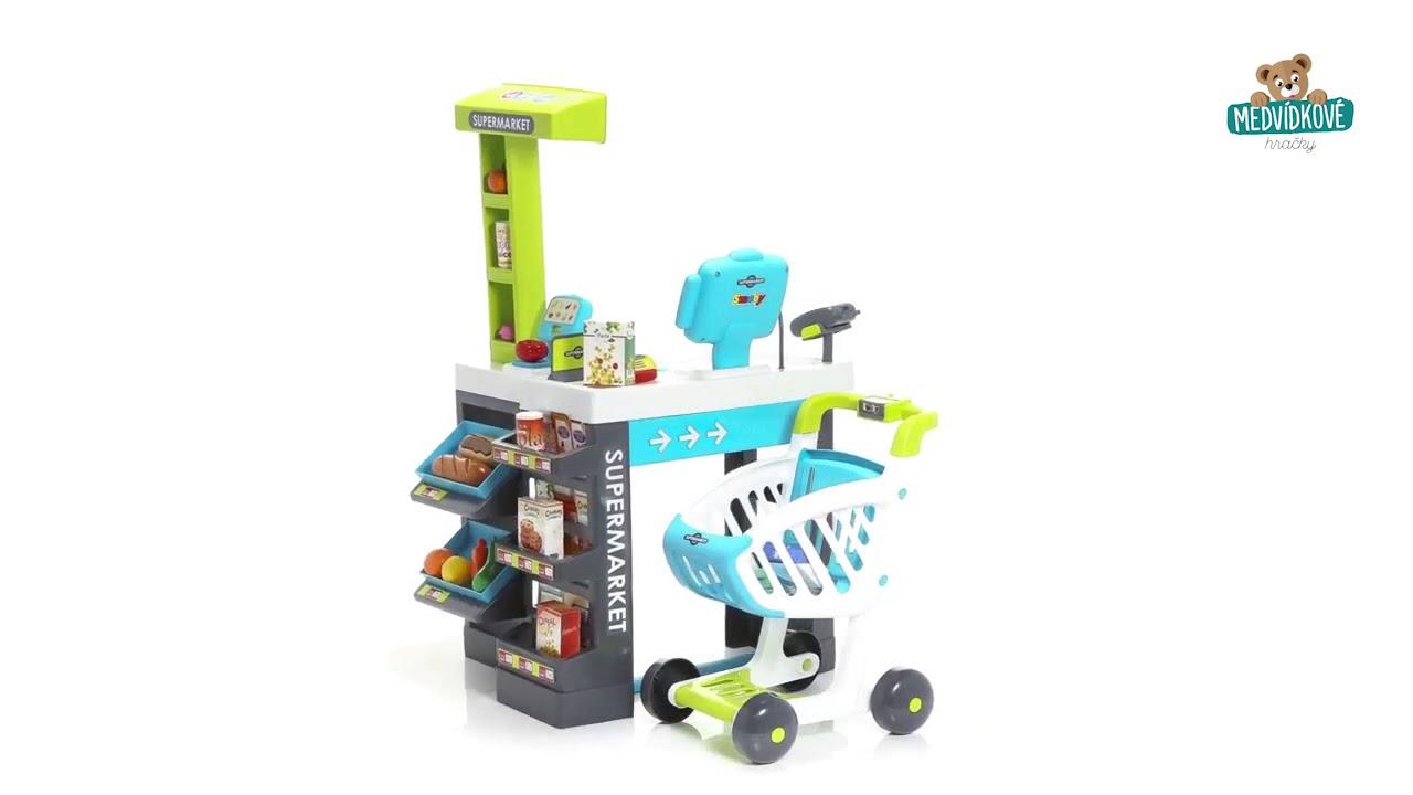 cab9531ae Obchod pro děti City Shop Smoby s pokladnou, potravinami - YouTube