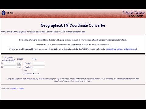 Convert between geographic coordinates and UTM coordinates using this site
