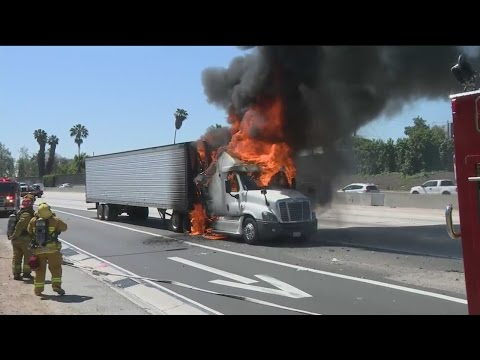 Fire Erupts In Big Rig Cab On 101 Freeway In Hollywood