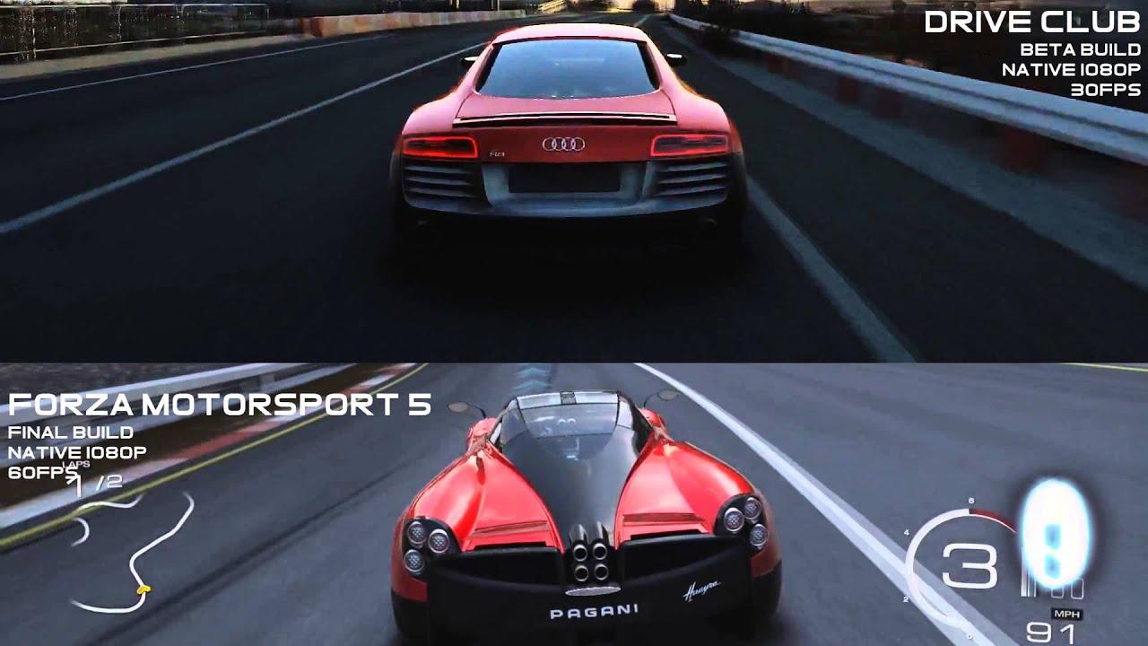 forza motorsport 5 xbox one vs drive club ps4 hd