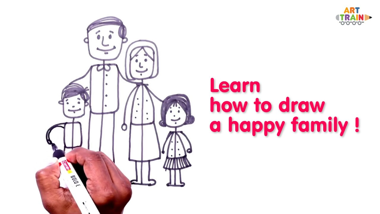 How To Draw Cartoon Characters In Simple Steps Learn How To Draw A Family Art Train Youtube