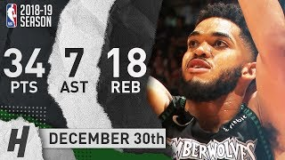 Karl-Anthony Towns Full Highlights Timberwolves vs Heat 2018.12.30 - 34 Pts, 7 Ast, 18 Rebounds!