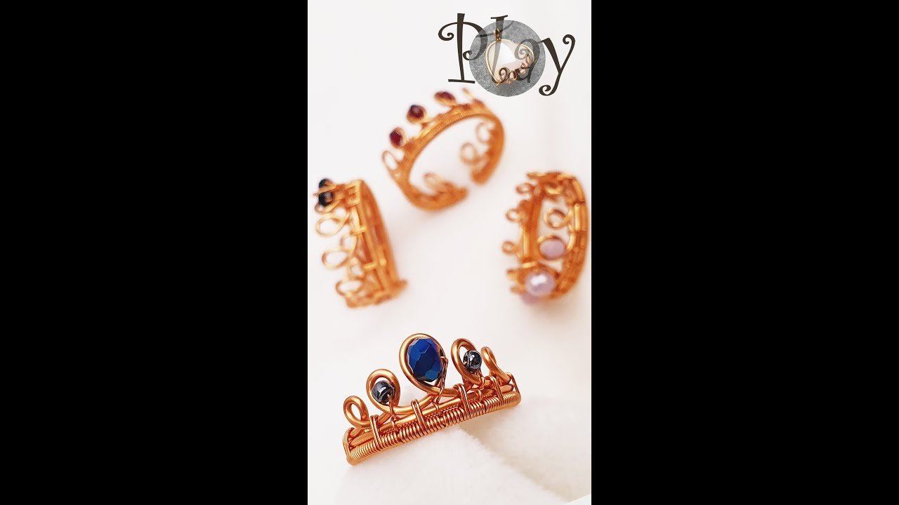 Play with wire   Crown   Small Crystal   Adjustable rings  624 #Shorts
