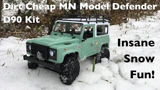 MN Model D90 Land Rover Defender: Dirt Cheap 1:12 Crawler In The Snow!