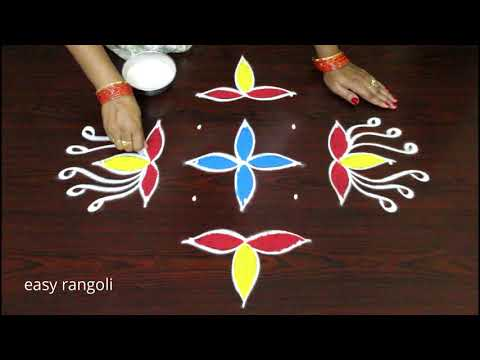 Simple flowers color Kolam with 7 dots | easy rangoli by Suneetha | New muggulu patterns