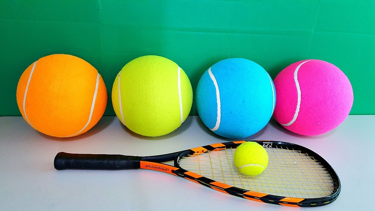 Tennis For Toddlers Learn Colors With Huge Tennis Ball For Toddlers Babies And Children Colours With Sports Toys