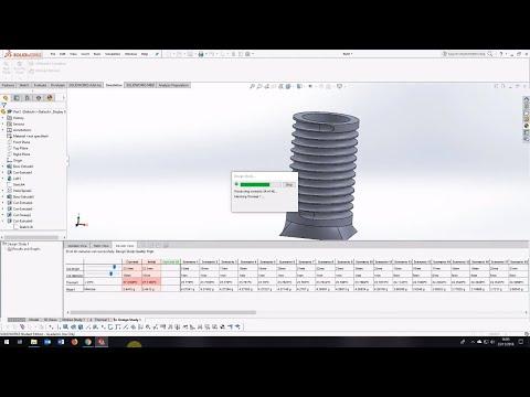 Solidworks parametric modelling for design optimization - design study