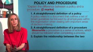 VCE Business Management - Policy and Procedure
