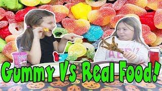 Gummy Vs. Real Challenge! Gummy Foods Vs. Real Foods