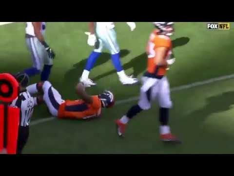 Broncos WR Bennie Fowler Struggles To Leave Field After Landing On His Head