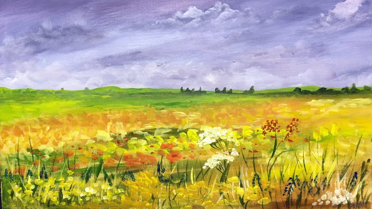 How To Paint A Field Of Flowers Acrylic Landscape Painting Lesson