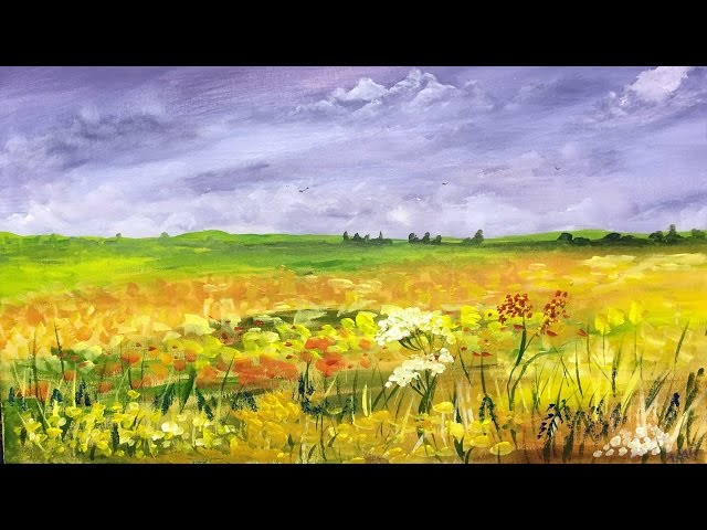 How to paint a Field of Flowers: Acrylic Landscape painting Lesson.