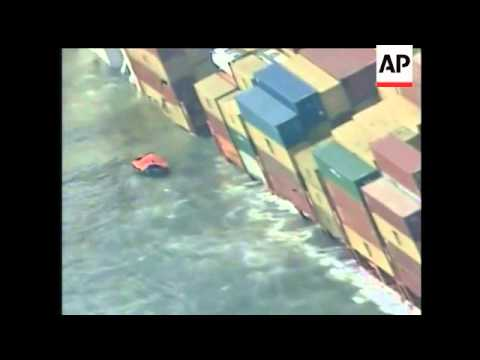 A stranded cargo ship, stuck off the coast of England has started shedding its cargo, some of which
