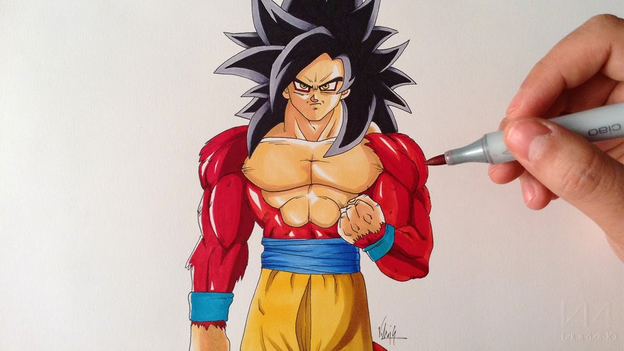 drawing goku ssj4 super saiyan 4 dragon ball gt youtube