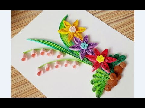 Kids Craft // DIY Quilling Paper for kids learning 02 // Quilling Flower Craft // Flower Card