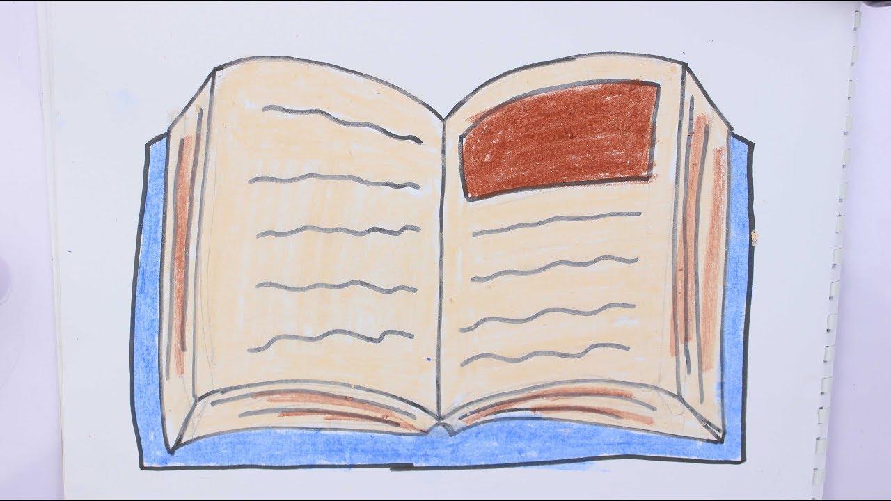 رسم كتاب مفتوح رسم سهل للاطفال خطوة بخطوة للبنات وللاولاد Youtube