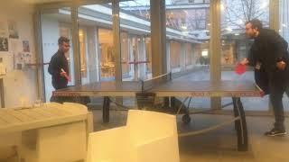 Jogando ping pong no CERN pela manha! Janeiro de 2019!