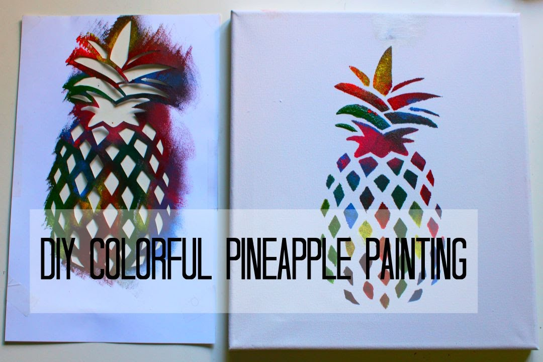 Diy colorful pineapple painting two paintings in one for How to make canvas painting
