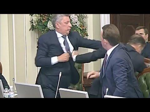Two Ukrainian politicians brawl