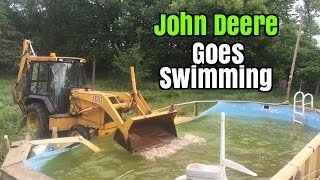 House Demolition New Operator in the Kobelco & John Deere in the Pool
