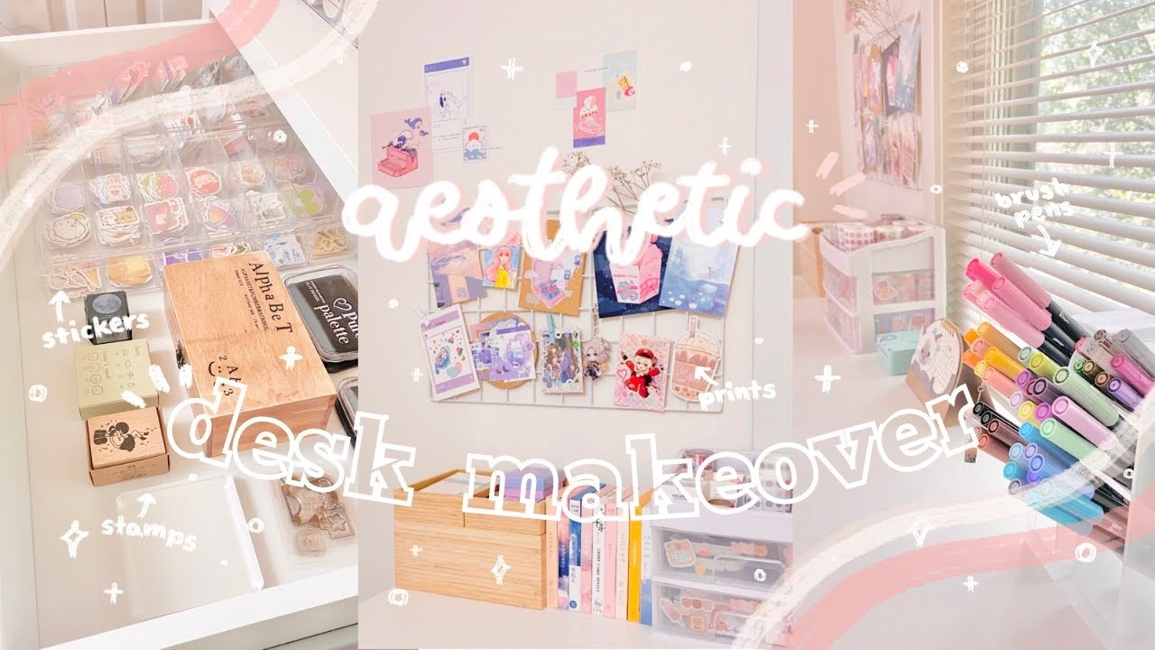 aesthetic desk makeover + desk tour 🌷// new desk setup! organizing stationery