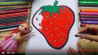 Tô màu theo chủ đề Hoa Quả, bé tô màu QUẢ DÂU TÂY - Coloring Strawberry với Họa Sĩ Nhí Tv