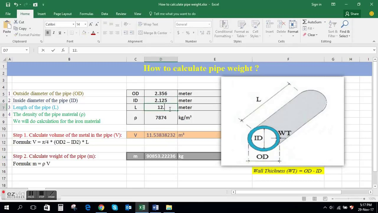 How to calculate pipe weight ?