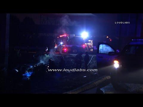 Fiery Fatal Traffic Collision / Gardena  RAW FOOTAGE