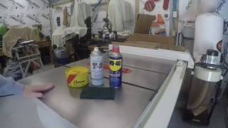 How to maintain your cast iron table saw top.