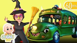 Halloween song, wheels on the bus    Nursery Rhymes   Kids Songs   Jugnu Kids