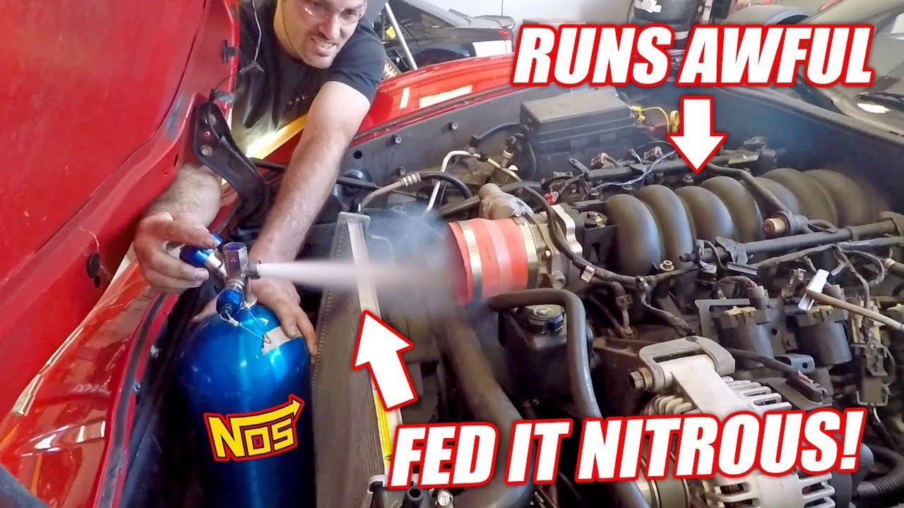GIANT NITROUS SHOT vs. Auction Corvette! Will the Truck Engine Survive!?