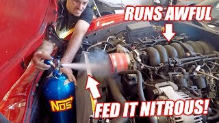 GIANT NITROUS SHOT vs. Auction Corvette! Will the Truck Engine Survive!?