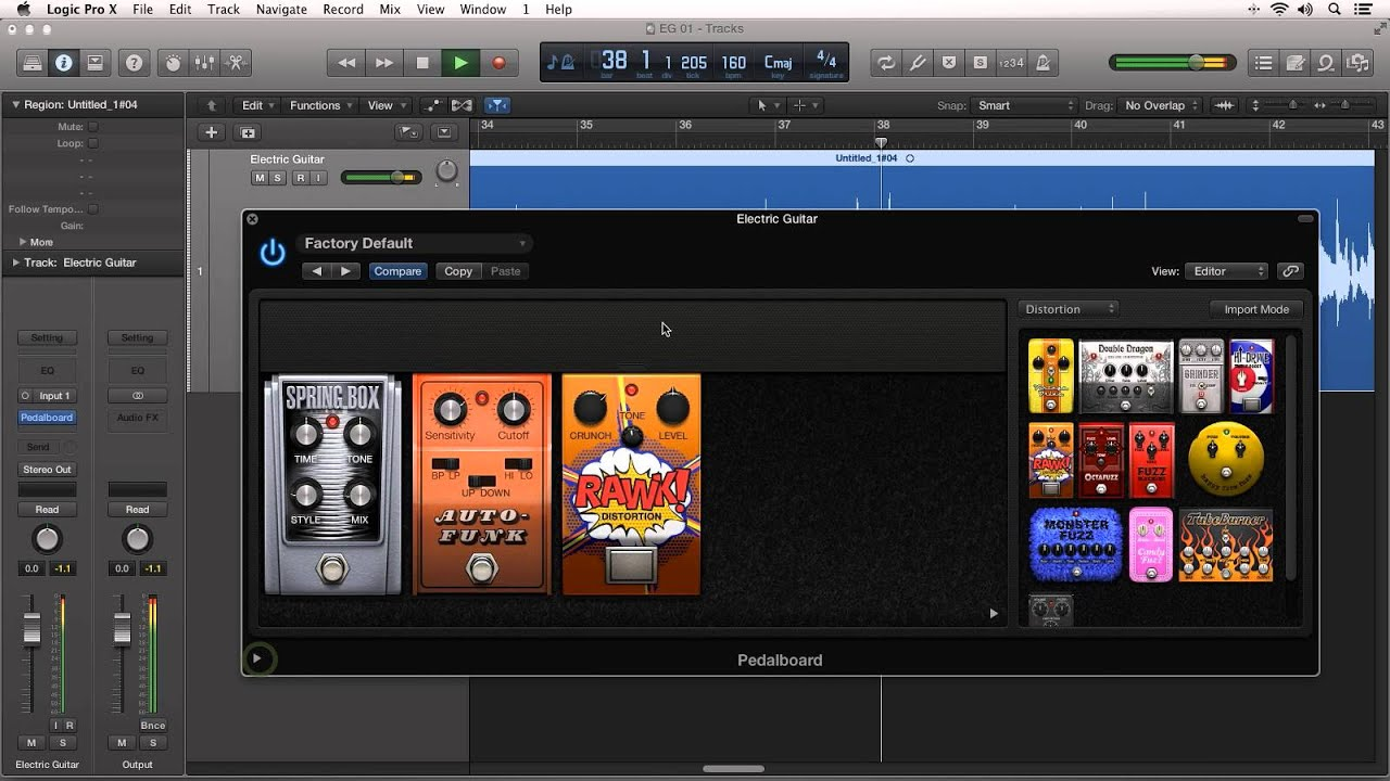 how to use pedalboard in logic