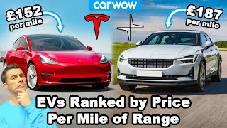 How much you pay for each mile of range on EVERY electric car