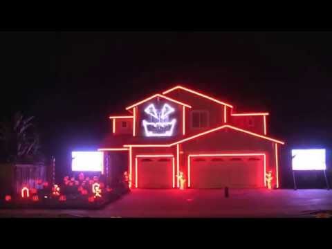 Riverside Halloween House Creative Lighting Displays  California October 22 2015