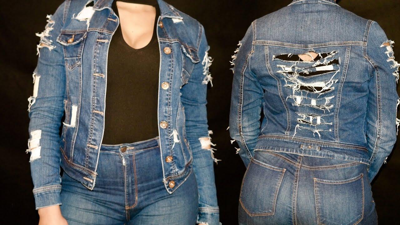 b2fe00ab0 DIY  Customização de Jaqueta Casaco Jeans. Como Rasgar e Desfiar ...